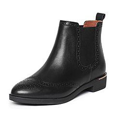 Belle/百丽冬季专柜同款黑油皮牛皮女短靴BMT45DD6