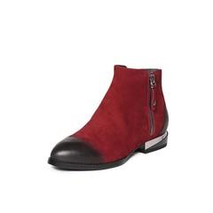 Belle/百丽冬季专柜同款暗红磨砂牛皮女短靴BND42DD6
