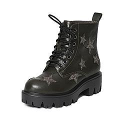 Belle/百丽冬季专柜同款墨绿牛皮/羊绒皮女短靴Q5R1DDD6