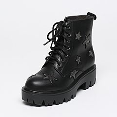 Belle/百丽冬季专柜同款黑色牛皮/羊绒皮女短靴Q5R1DDD6