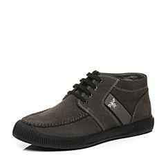 Belle/百丽冬季专柜同款深灰二层牛皮男皮靴32D45DD6