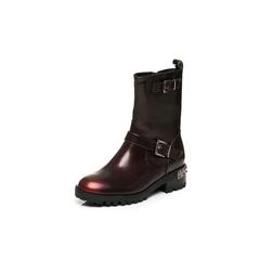 Belle/百丽冬季专柜同款酒红珠光擦色牛皮女皮靴BLQ62DZ6