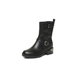 Belle/百丽冬季专柜同款黑油皮牛皮女中靴BLQ62DZ6