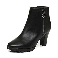 Belle/百丽冬季专柜同款黑油皮牛皮革女皮靴BHX40DD6