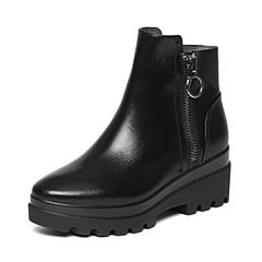 Belle/百丽冬季专柜同款黑油皮牛皮女短靴BKB42DD6