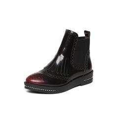 Belle/百丽冬季专柜同款红光面擦色牛皮女短靴BKM42DD6