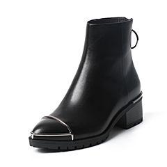 Belle/百丽冬专柜同款黑油皮小牛皮女短靴BLP41DD6