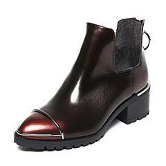 Belle/百丽冬专柜同款酒红珠光擦色牛皮女短靴BLP44DD6