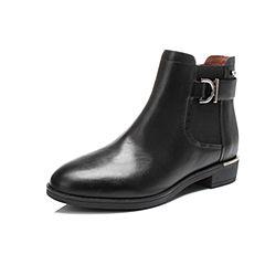 Belle/百丽冬季专柜同款黑油皮牛皮女短靴BMT40DD6