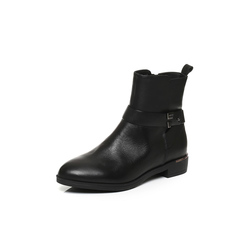 Belle/百丽冬季专柜同款黑油皮牛皮女皮靴BMT44DD6
