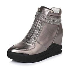Belle/百丽冬专柜同款深灰时尚贴膜牛皮/织物女休闲靴Q6F1DDD6