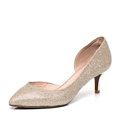 Belle/百丽春季专柜同款金色亮片布优雅细跟女凉鞋P9A1DAK6