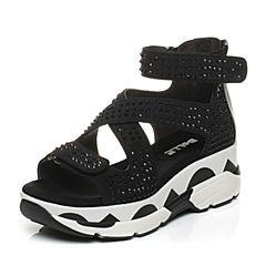 Belle/百丽夏季专柜同款黑色弹力布女凉鞋BER34BL6