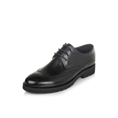Belle/百丽秋季黑色牛皮雕花布洛克鞋正装商务男皮鞋W01Q1CM6