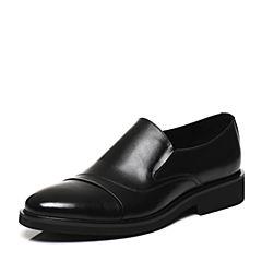 Belle/百丽春专柜同款黑色时尚正装牛皮男皮鞋4TU12AM7