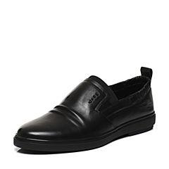 Belle/百丽春专柜同款黑色牛皮套脚男休闲鞋4SV02AM7