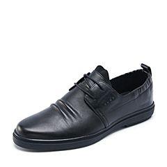 Belle/百丽春专柜同款黑色牛皮褶皱鞋面系带男休闲鞋4SV01AM7