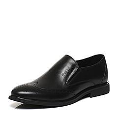 Belle/百丽2017春黑色商务正装牛皮革男皮鞋21603AM7