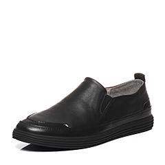 Belle/百丽春季专柜同款牛皮黑色男休闲鞋4UK01AM7