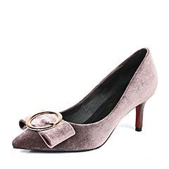 Belle/百丽2017春咖啡色优雅时尚绒布女鞋16102AQ7