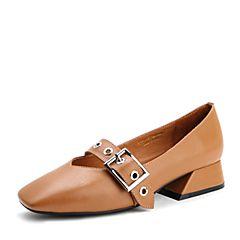 Belle/百丽春棕色时尚复古牛皮女单鞋17202AQ7