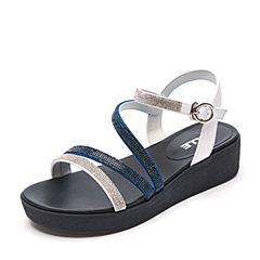 Belle/百丽夏专柜同款白/深兰绒布女凉鞋BNL34BL7