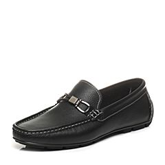 Belle/百丽夏季专柜同款黑色牛皮男休闲鞋豆豆鞋4VS01BM7(领红包更优惠)