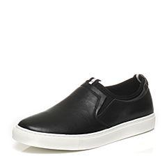 Belle/百丽夏季专柜同款黑色牛皮男休闲鞋乐福鞋4UQ01BM7