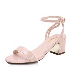 Belle/百丽2017夏粉色优雅知性漆皮牛皮露趾一字带女凉鞋BLAA6BL7