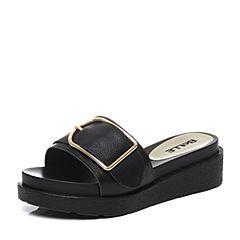 Belle/百丽2017夏黑色舒适时尚拖鞋牛皮女皮凉鞋31202BT7
