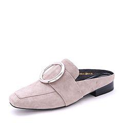 Belle/百丽2017春灰色时尚穆勒鞋羊绒皮女单鞋31601AH7