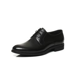 Belle/百丽2017新款秋季黑色牛皮男简约商务正装系带舒适德比鞋皮鞋54104CM7