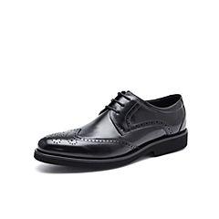 Belle/百丽秋季专柜同款黑色牛皮商务正装布洛克鞋男皮鞋4ZJ01CM7
