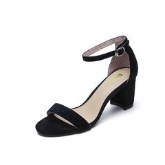 Belle/百丽夏季专柜同款黑色羊绒皮女皮凉鞋R5F1DBL7