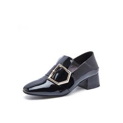 Belle/百丽2017秋季新品专柜同款黑色皱漆皮牛皮女单鞋BTL20CM7