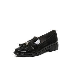 Belle/百丽2017秋季新品专柜同款黑色漆皮牛皮流苏乐福鞋女单鞋BLTD2CM7