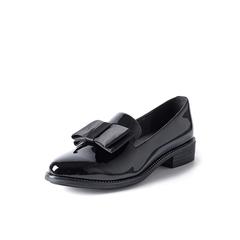 Belle/百丽秋季专柜同款黑色皱漆皮牛皮女单鞋BLTBDCM7