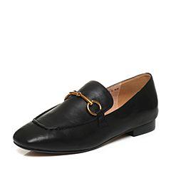 Belle/百丽2017秋季新品专柜同款黑色油皮牛皮女单鞋BXD20CM7