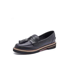 Belle/百丽2017秋季新品专柜同款黑色油皮牛皮女单鞋乐福鞋BTH24CM7