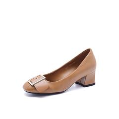 Belle/百丽秋季专柜同款棕色?#25512;?#32974;牛皮皮带扣女单鞋BWI02CQ7