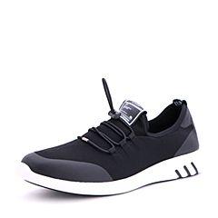 Belle/百丽夏季黑色弹力布运动风男休闲鞋23403BM7