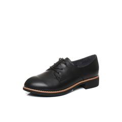 Belle/百丽秋季专柜同款黑色牛皮女单鞋R6K1DCM7