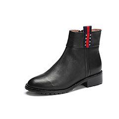 Belle/百丽2017冬季新品专柜同款黑色摔纹油蜡小牛皮女皮靴BQU45DD7