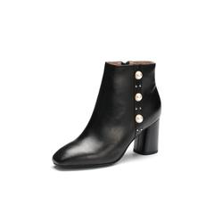 Belle/百丽2017冬季新品专柜同款黑色油皮小牛皮女短靴BVL48DD7