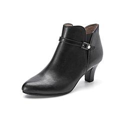 Belle/百丽2017冬季新品专柜同款黑色油皮牛皮女短靴3EKC3DD7