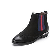 Belle/百丽2017冬季新品专柜同款黑色珠光磨砂牛皮女短靴3C3X2DD7