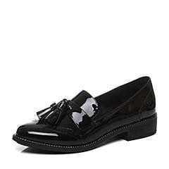 Belle/百丽2017新款秋季黑色时尚英伦漆皮牛皮革女皮鞋BLTD3CM7