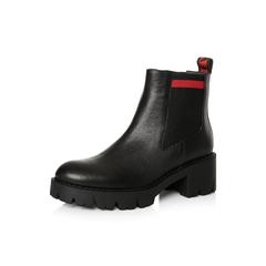 Belle/百丽2017冬季新品专柜同款黑色牛皮女短靴BYL42DD7