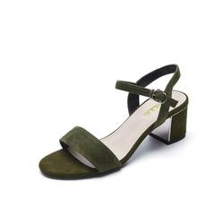 Belle/百丽夏季专柜同款墨绿羊绒皮革女皮凉鞋BLA30BL7