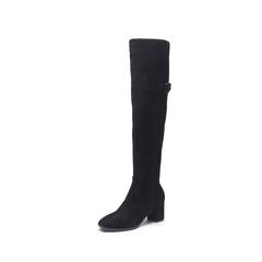 Belle/百丽2017冬季新品专柜同款黑色羊绒皮革女皮靴(绒里)BQW80DC7